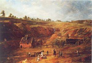 Pintura de la mina de zinc, obra de Jean-Baptiste Bastiné (1843)