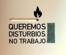 queremos disturbios no trabajo