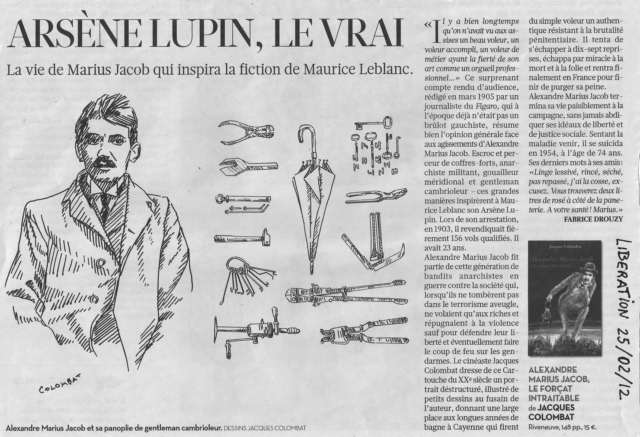 Alexander Marius Jacob Periódico Liberation robo maurice Leblanc