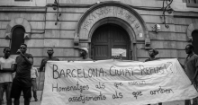 sindicato de manteros frente a la cárcel modelo de barcelona